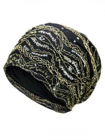 Shops Vintage Striped Sequin Beanie Hat GOLDEN