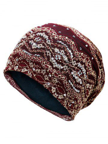 New Vintage Striped Sequin Beanie Hat - WINE RED  Mobile