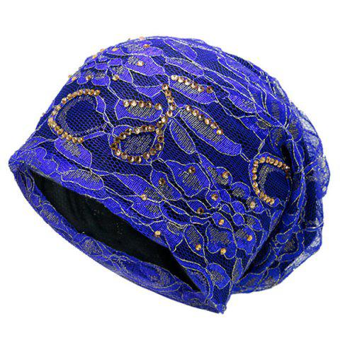 Fashion Vintage Flower Embroidery Rhinestone Embellished Beanie - BLUE  Mobile