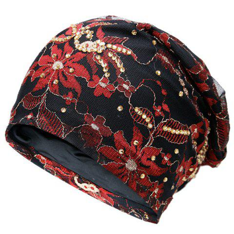 Unique Vintage Floral Embroidered Rhinestone Decorated Beanie Hat - BLACK  Mobile
