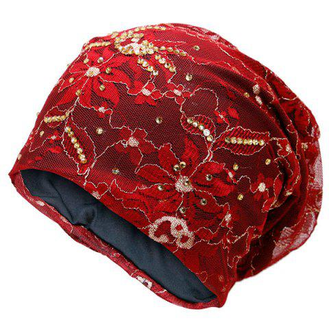 Best Vintage Floral Embroidered Rhinestone Decorated Beanie Hat - RED  Mobile