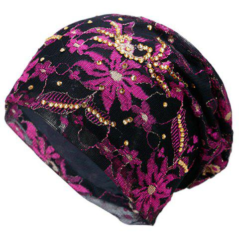 Cheap Vintage Floral Embroidered Rhinestone Decorated Beanie Hat