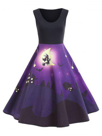 Shops Castle Bat Vintage A Line Halloween Dress - 2XL PURPLE Mobile