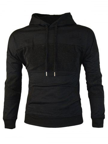 Sale Chest Embroidery Corduroy Panel Pullover Hoodie BLACK M