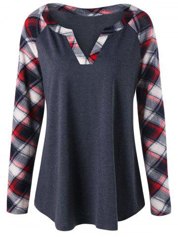 Latest Plus Size Raglan Sleeve Plaid T-shirt - 2XL BLACK GREY Mobile