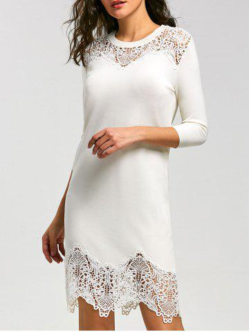 Outfits Lace Insert Knit Bodycon Mini Dress - M WHITE Mobile