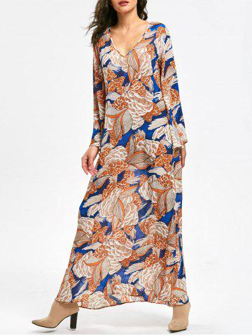 Fashion Plant Print Long Flared Sleeve Maxi Dress