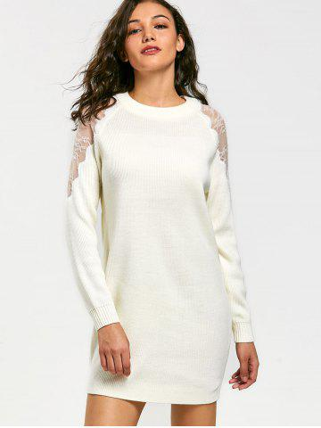 Lace Panel Long Sleeve Short Sweater Dress