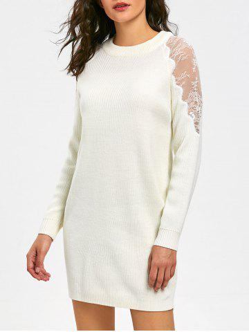 Sale Lace Panel Long Sleeve Short Sweater Dress WHITE 2XL