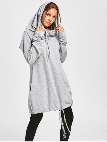 Outfit Dolman Sleeve Loose Fit Drawstring Hoodie GRAY 2XL