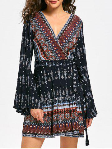 Online Bohemia Print Long Flare Sleeve Surplice Dress - M COLORMIX Mobile
