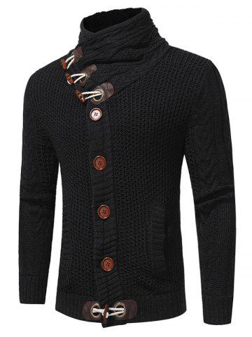 Horn Button Cowl Neck Single Breasted Cardigan - BLACK - L