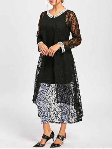 Store Long Sleeve Lace High Low Hem Dress