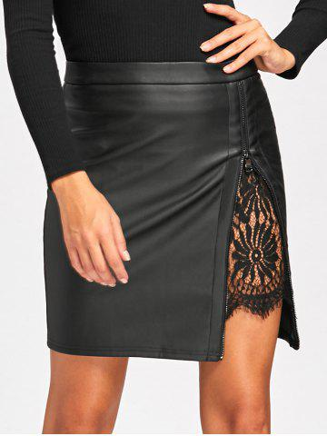 Lace Insert Faux Leather Bodycon Skirt