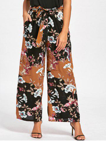 Best Floral Elastic Waist Wide Leg Pants