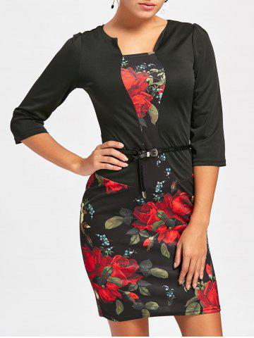 Chic Flower Print Faux Two-piece Bodycon Dress