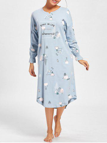 Trendy Printed Long Sleeve Tee Pajama Dress