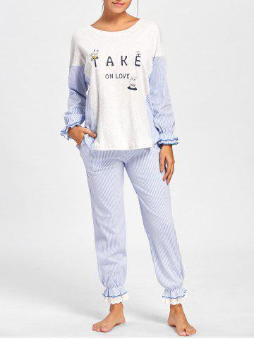 Outfit Frill Trim Striped Cotton Pajamas Set