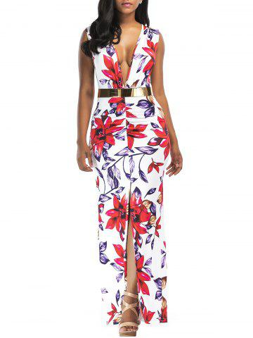 Fashion Floral Print Plunging Belted Slit Maxi Dress