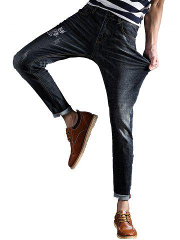 Best Slim Fit Zipper Fly Owl Embroidery Jeans
