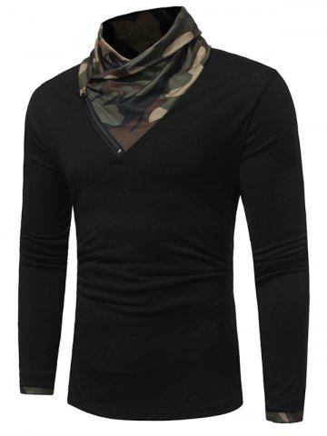 Discount Camouflage Panel Cowl Neck Zipper T-shirt