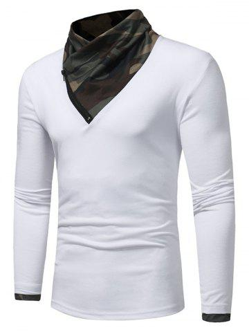 Camouflage Panel Cowl Neck Zipper T-shirt