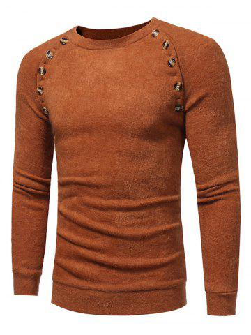 Buttons Embellished Raglan Sleeve Sweater