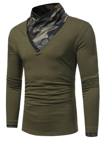 Fancy Camouflage Panel Cowl Neck Zipper T-shirt