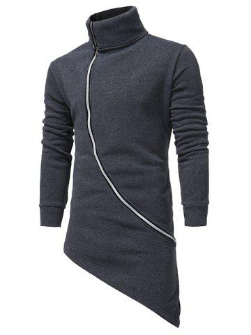 Affordable Oblique Zip Up Asymmetrical Longline Hoodie