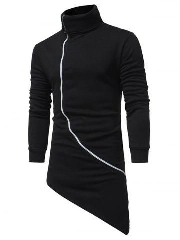 Buy Oblique Zip Up Asymmetrical Longline Hoodie