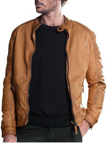 Raglan Sleeve Mandarin Collar Faux Leather Jacket