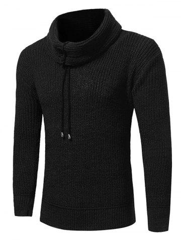 Trendy Cowl Neck Drawstring Pullover Sweater