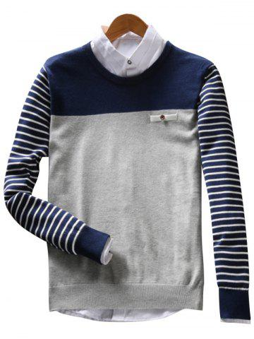 Buy Faux Pocket Stripe Color Block Sweater