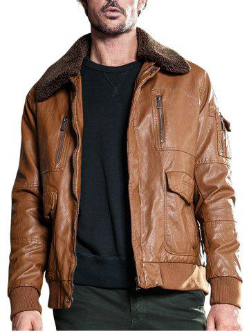 Discount Multi Pockets Borg Collar Faux Leather Jacket