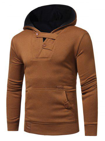 Fancy Color Block Hooded Buttons Fleece Hoodie