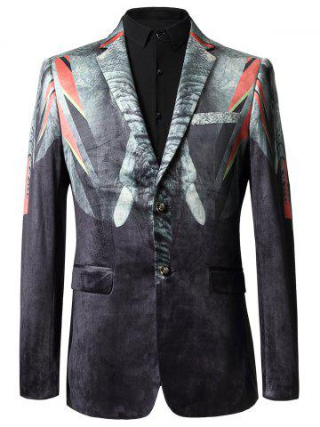 Fancy Lapel Printed Casual Velvet Blazer