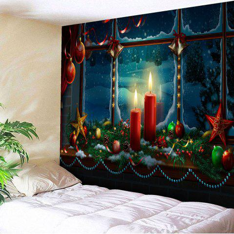 Discount Waterproof Romantic Christmas Candles Pattern Wall Art Tapestry