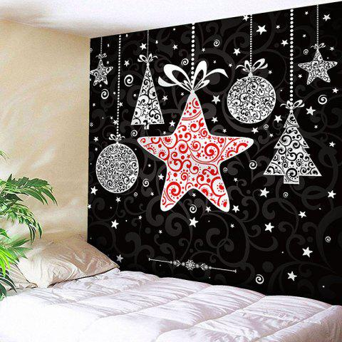 Store Christmas Stars Gift Pattern Waterproof Wall Hanging Tapestry