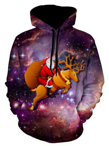 Fashion Galaxy Christmas Reindeer Pullover Hoodie