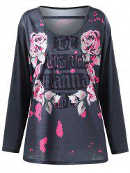 Plus Size Floral Letter Long Sleeve Top - SMOKY GRAY XL