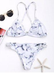 Marble Print Criss Cross Bikini Set - GREY AND WHITE M