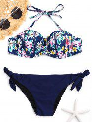 Floral Push Up Halter Bikini Set - COLORMIX L