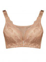 Plus Size Wirefree Padded Floral Lace Panel Bra - LIGHT COFFEE 2XL