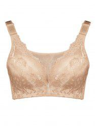 Plus Size Wirefree Padded Floral Lace Panel Bra - COMPLEXION 7XL
