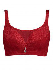 Plus Size Unlined Wirefree Floral Lace Bra - RED XL