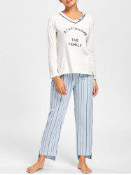 Pajama V Neck Tee with Striped Pants - LIGHT GRAY L