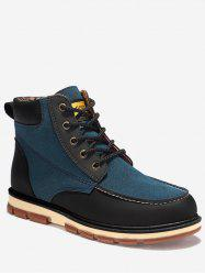 Ankle Color Block Moc Toe Boots - BLUE 46