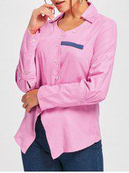 Turndown Collar Asymmetrical Shirt - PINK L