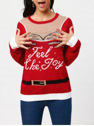Feel The Joy Pullover Sweater - RED ONE SIZE
