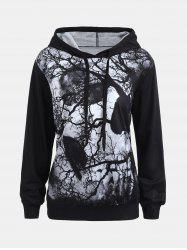 Dark Forest Skull Print Halloween Hoodie - BLACK M
